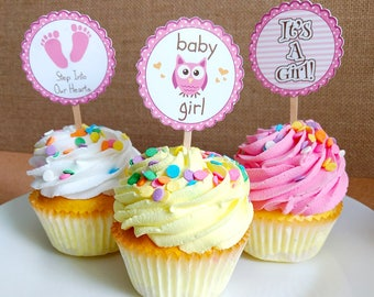 girl baby shower cupcake toppers pink baby shower decorations its a girl pink