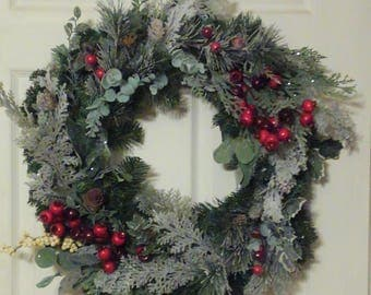 Clearance | Winter Wreath | Christmas Wreath | Christmas Decor | Yule | Pine | Flocking | Berries | Holly | Traditional | Green