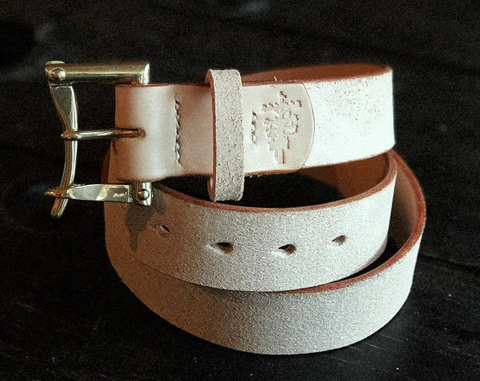 "1.5"" Natural Vegtan Rough Out belt with Solid Brass or Nickel Quick Release Buckle - Made to Order"