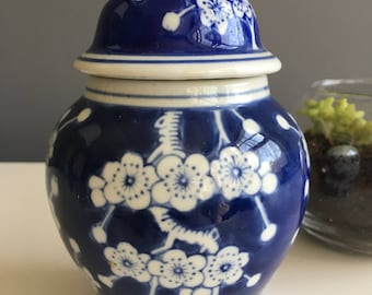 Blue and white ginger jar, vintage, flowering prunes