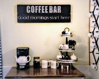 Coffee Bar Sign - Coffee Bar Decor - Farmhouse Kitchen - Coffee Sign - Kitchen Sign - Good Morning - Coffee Bar Wood Sign - Gift for Her