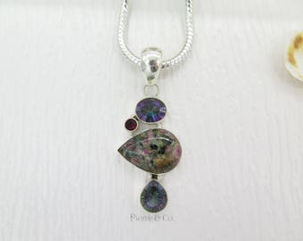 Mystic Topaz Pyrite Tourmaline and Garnet Sterling Silver Pendant and Chain