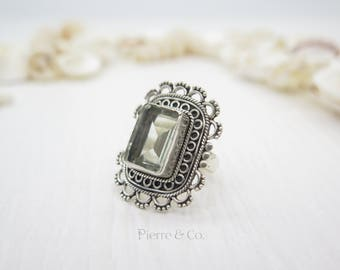24 carats Victorian Filigree Green Amethyst  Sterling Silver Ring (Size 7.5)