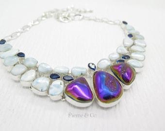Titanium Drusy Larimar Blue Topaz Sterling Silver Necklace