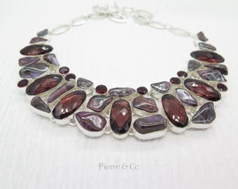 Sugilite Kunzite Garnet Sterling Silver Necklace