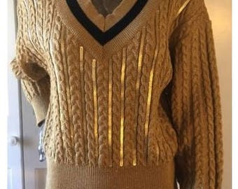 Escada Sz 38 US 8 Gold Sequin Cable Knit V Neck Sweater