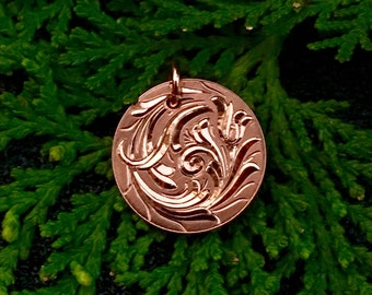 Hand Engraved Bright Cut Flowing Scroll Design Copper Pendant Charm