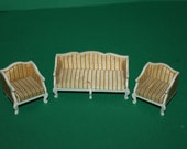Vintage Dolls House Lundby Lounge Suite Sofa And Chairs Royal White And Gold