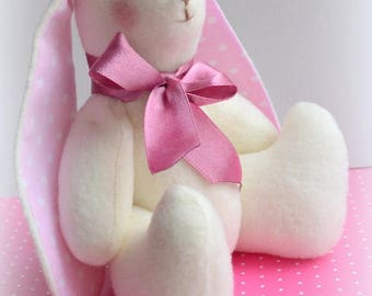 Rag Bunny Rabbit plush fleece Bunny handmade Rabbit gift birthday Easter Christmas