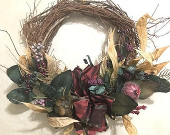 Vintage Hand Made Wreath Earth Colors Home Decor