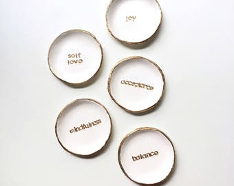 ONE WORD // Ring Dish, Jewelry Dish, Trinket Dish, Minimalist Motivational Gift Idea Decor Storage