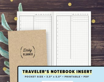 POCKET Size TN   Hobonichi Inspired Daily Planner Layout   Traveler's Notebook Inserts Printable, Field Notes, 3.5 x 5.5   Instant Download