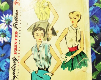 """Vintage Simplicity Sewing Pattern - 1953 - 'Simple to Make' Lady's Sleeveless Blouse - Size 14 Bust 32"""" - Mpn 4238  - Unused"""