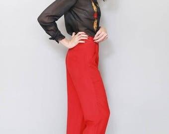 Vintage 1970's Beyond Vintage Silk Red Wide Leg Trousers
