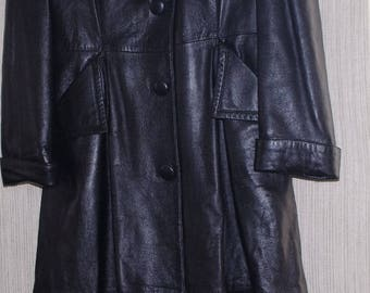 Vintage ALBERTO DESIGNER LEATHER Black Long Women Insulated Coat Size:L