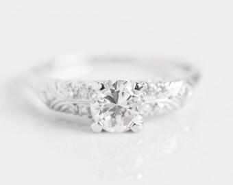 Platinum Antique Engagement Ring   Art Deco   Estate Engagement Ring