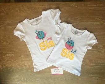 Little Sister / Big Sister Shirts or Onesie - New Baby announcement - Girl Gift -  Sister Big Sister SET