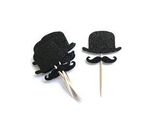 Black Glitter Hat & Mustache Toppers