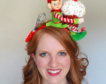 christmas headband adult, ugly christmas sweater women, cupcake headband, elf headband,  gift for baker, Ugly Sweater Party, chef headband