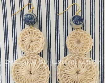 SALE | Crochet Lace Earrings | OFF WHITE,  chinoiserie, lightweight, blue and white, gold, statement earrings