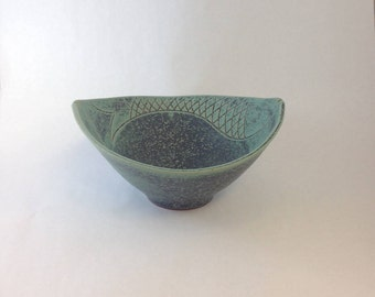 Handmade Pottery Fish Bowl, Carved Ceramic Fish Bowl, Blue, Gray, Purple