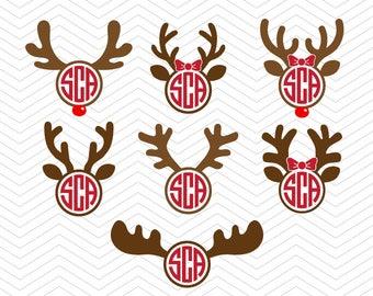 Reindeer Christmas antler svg Monogram Frame DXF SVG PNG eps Vinyl winter deer decal Cricut Design, Silhouette studio, Instant Download