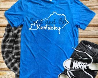 Kentucky Home shirt, Kentucky shirt, Blue Kentucky shirt, Home shirt, Kentucky outline, Made by Enid and Elle