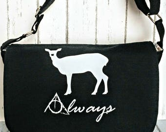 Always Messenger Bag-Harry Potter-Snape-HP Fan- Potterhead-Laptop Bag-Commuter-Book Bag-OOAK-Custom Made