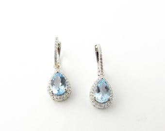 Vintage 14 Karat White Gold Blue Topaz and Diamond Earrings #3011