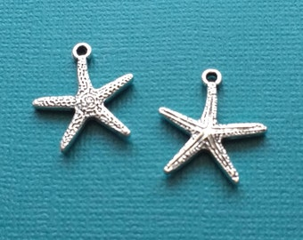10 Starfish Charms Silver - CS2758