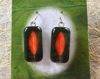 ttams - glass tile earrings - leaf