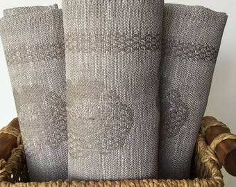 Flax Linen Towel Kitchen Linens Unbleached Washcloth Natural Textile Rustic hand Jacquard towel Flower Raw Linen Tea towel Mother Day gift