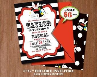 Magic Birthday Invitation-SELF-EDITING Magic Party invite--Magic Show-Magic Show Party Invite-Magician Invitation-iLoveDIYPrintables-A117