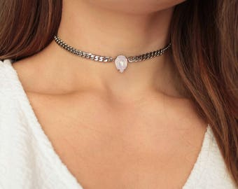 Pear Crystal Choker - Swarovski Crystal Curb Chain Stainless Steel Necklace