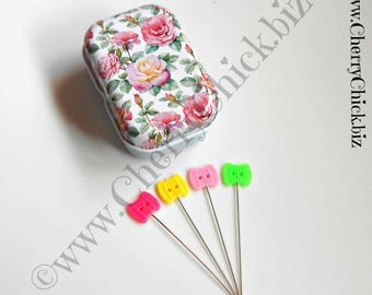 Thread Sewing Pins - Pins in Tins - Decorative Sewing Pins - Pins - Quilting Pins - Tin with Pins - Quilt Retreat Gifts - Gift for Quilters