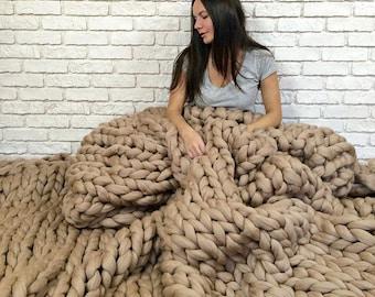 "Chunky Knit Blanket 300x300 cm/ 118x118"", Extra Large blanket,  Merino Wool blanket, Arm Knit Blanket, Giant Knit Blanket, Chunky knit throw"