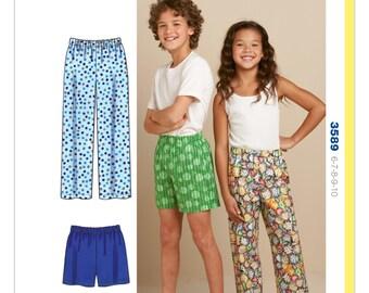 Sewing Pattern for Boys' & Girls Sleep Pants and Shorts, Kwik Sew Pattern 3589, Kwik Start, Learn-to-Sew Pattern, Childs Sleep Pants -Shorts