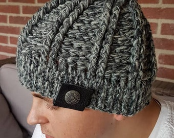 crochet pattern beanie // mens beanie // boys beanie // pattern hat // chunky hat // cable crochet hat //
