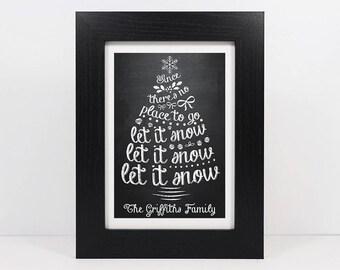 Framed Personalised Christmas Tree Print | Personalised Family Christmas Decoration | Christmas Gift | Let It Snow Print | Christmas Frame