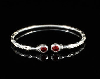 125 West Indian Bangle with Synthetic Garnet January Birthstone Handmade in Sterling Silver