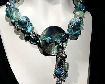 Big and Bold Turquoise necklace, statement choker, Abalone, glass beads, crystal,   beach  wear, eye catcher,