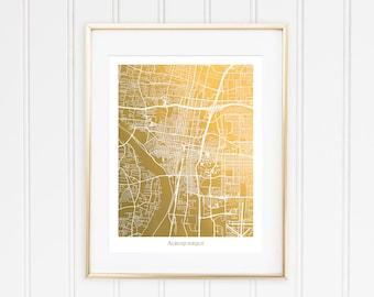 Gold Foil Map of Albuquerque, Gold Foil Print, Gold Decor, Gold Wall Art, Albuquerque Map Poster,  Gift for Traveler, Holiday Gift Idea