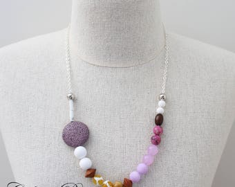 Purple Gemstone necklace Mustard yellow necklace Passionfruit necklace Quirky Necklace Asymmetrical Necklace summer necklace - Passionfruit