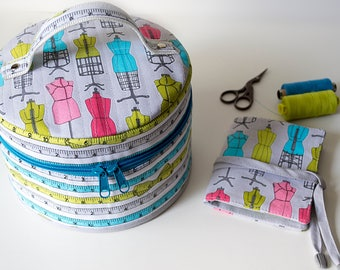 Turquoise round sewing case Gray knitting embroidery patchwork project bag mannequin print needle book sewing travel kit gift for sew