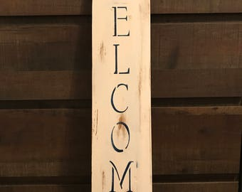 Hand made Welcome Sign, Wooden Sign, Coastal Decor, Wall Decor, Home Decor, Nautical Decor, Distressed White Welcome Sign