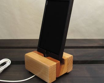 Wood iphone stand, charging dock, iphone dock, ipod docking station, wood phone stand, iphone 6 dock, charging stand, wooden iphone dock.