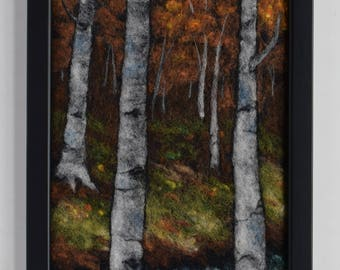 Wool Painting ~ Needle Felted Landscape ~ Birch Autumn ~ Wool Picture ~ Nature ~ Trees ~ Felt