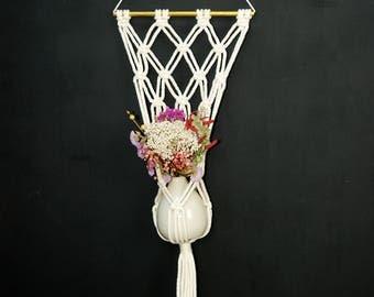 hanging macrame vase