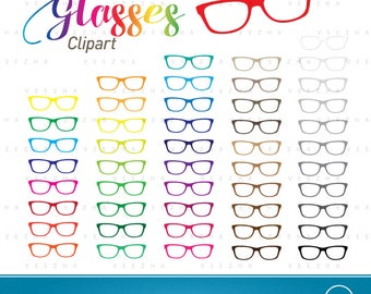 Glasses Clipart Rainbow Color, Eyewear Vivid Color