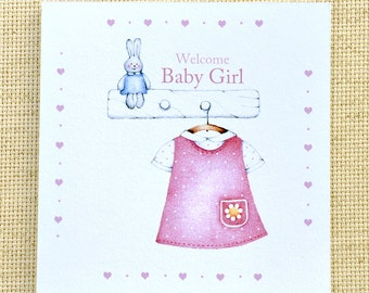 Welcome Baby Girl Card, Cute Baby Card, Customized Baby Card, New Baby Girl Card, Baby Girl Congratulations Card, Baby Congratulations Card